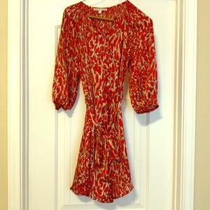 Red and Tan Silk Button Up Dress